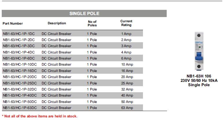 DC Circuit Breakers : DC Circuit Breaker - Single Pole